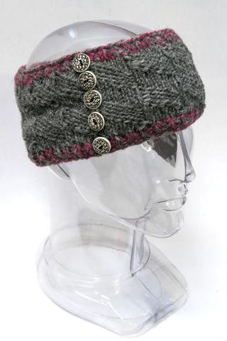 Dark gray knit wool headband with purple ribbed edges & 5 metal buttons accent