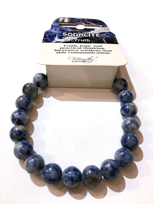 Close up of sodalite Natural Stone Bead Stretch Bracelet