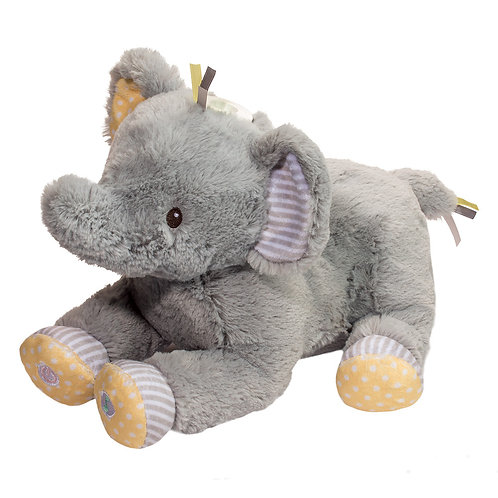 Gray Elephant musical plush toy with yellow feet & ear lining