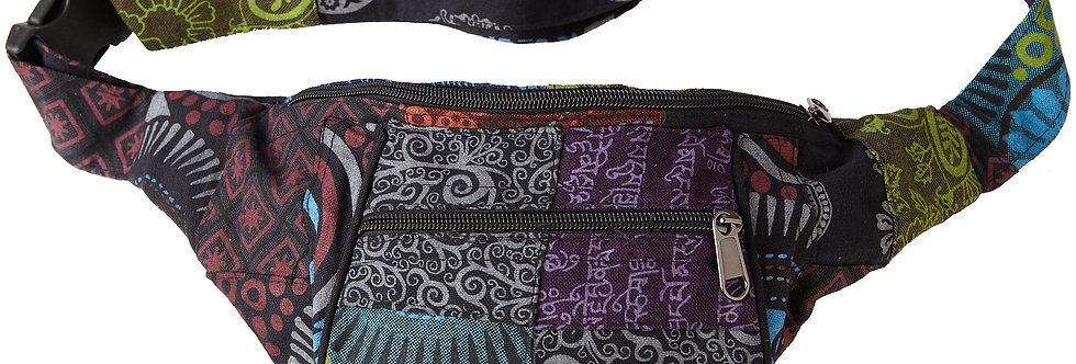 Ark Fair Trade Petite Patch Hip Pack-multi coloured patches zippered pouch with belt