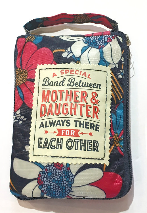 navy floral print tote bag text'A Special Bond Between Mother & Daughter - Always There for Each Other'