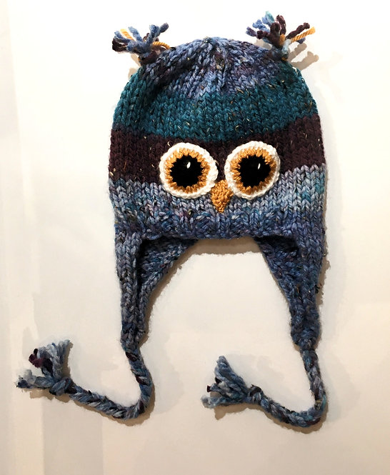 Denim & teal knit childs hat with earflaps & chin ties-owl eyes & beak stitched on-ear tassels at top of crown