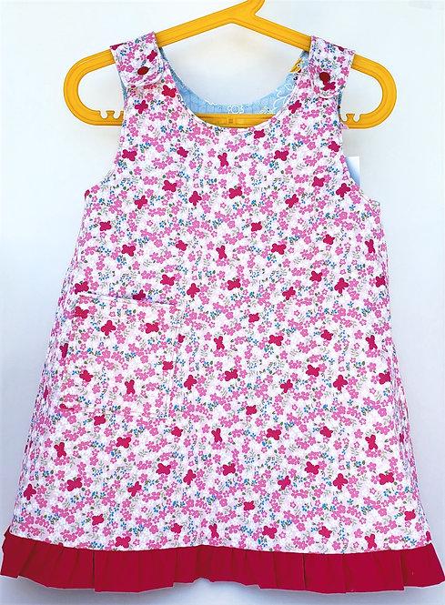 handmade Pink / Blue Reversible Dress Pink side out on hanger