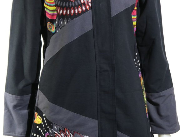 Front view of black hooded zipper front knee length jacket with stripes of gray & patches of bright colored prints