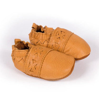 Pair of Hides in Hand traditional style Leather Baby Paw Moccasins, tan