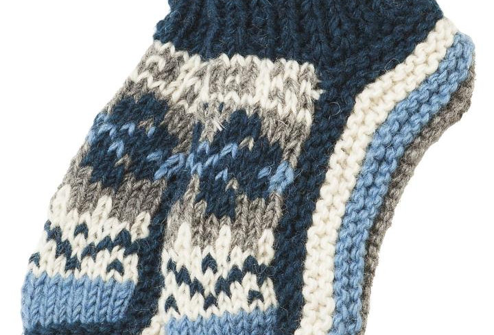 Knit wool ankle sock/slipper-teal with teal charcoal & white pattern on top of foot