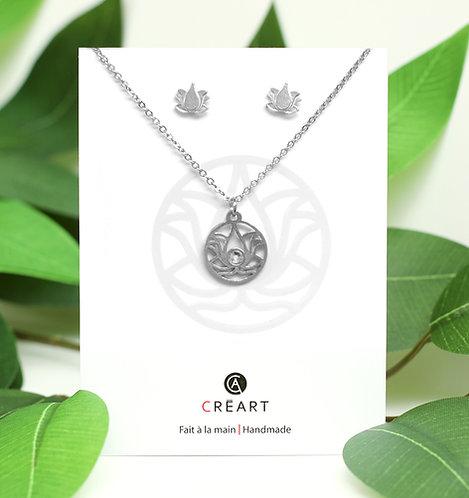 Green & white card displaying pewter chain, pendant & stud earrings set in lotus flower shape