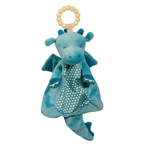 Pale yellow plastic teething ring attached to the head of a soft plush blue dragon blankie toy