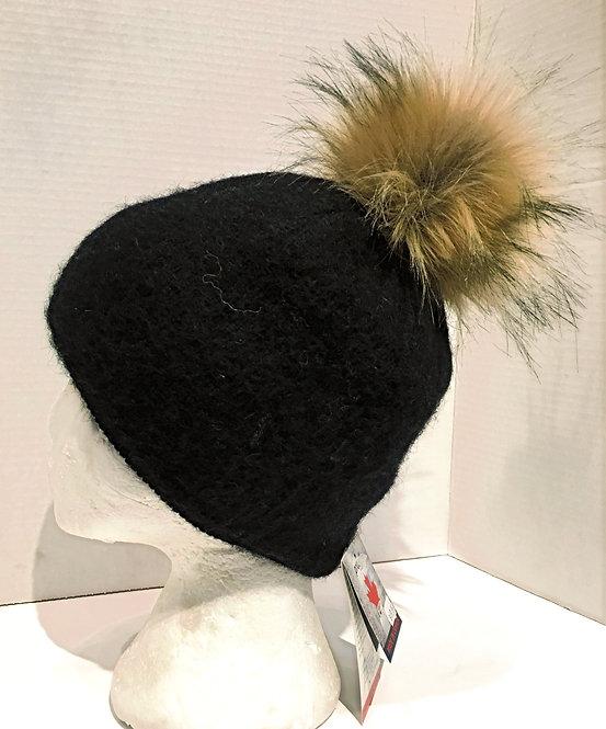 Solid black wool toque brown faux fur pompom
