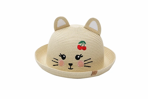 Natural color straw hat with cat ears & cat face & 2 red cherries stitched on