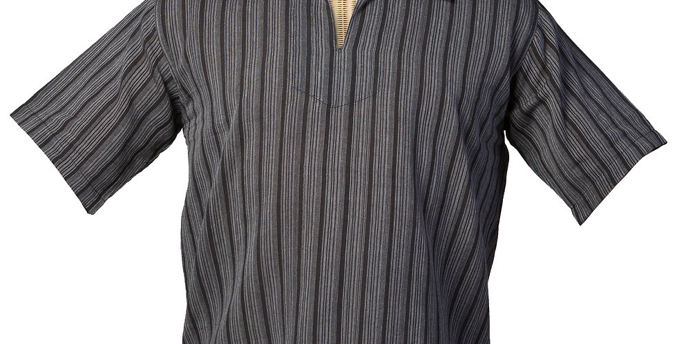Fair trade cotton shirt short sleeves pullover style-pointed collar charcoal with black vertical stripes