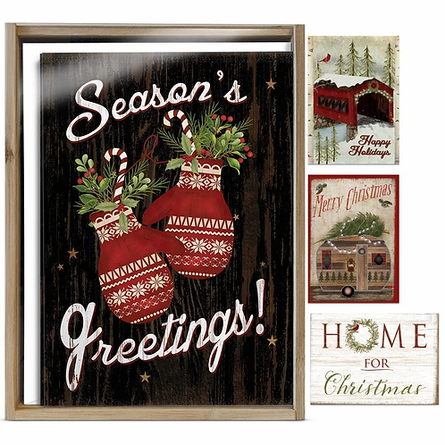 Bamboo box of 16 Christmas cards, cozy cabin theme