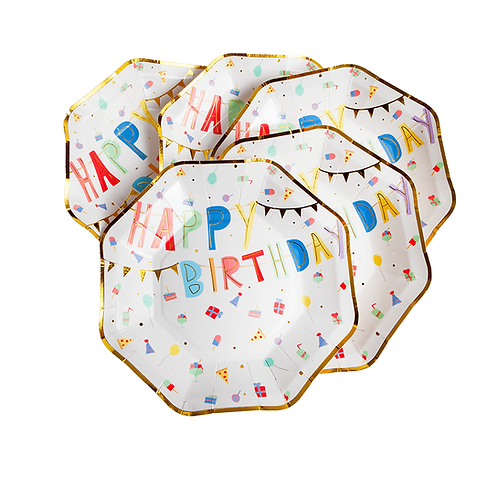 5 octagonal paper plates with colorful 'HAPPY BIRTHDAY' and print of little gifts