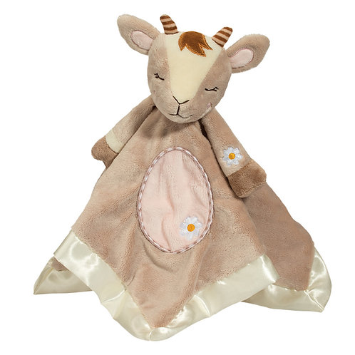 Soft square satin-bound blanket in light brown color with stuffed head & legs sewn into the center to form a goat doll