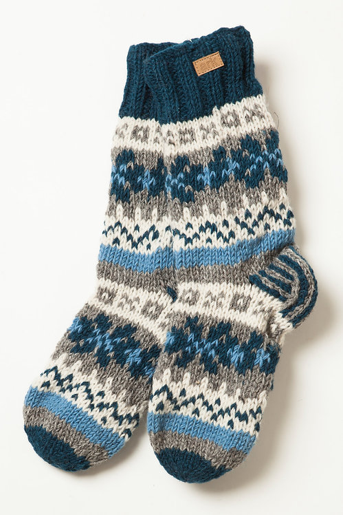 Knit wool ankle sock/slipper-teal with teal gray & white pattern