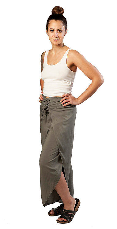 Olive green Fair Trade Jasmine wrap pants with 2 panel leg open at calf, cinching ties at front of waist