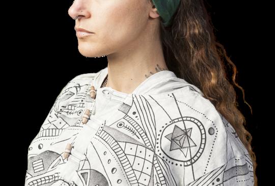 Female modeling Tie-Dye Magic Bandana
