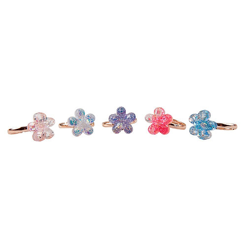 5 child's dress-up rings with pastel colored shimmery flowers