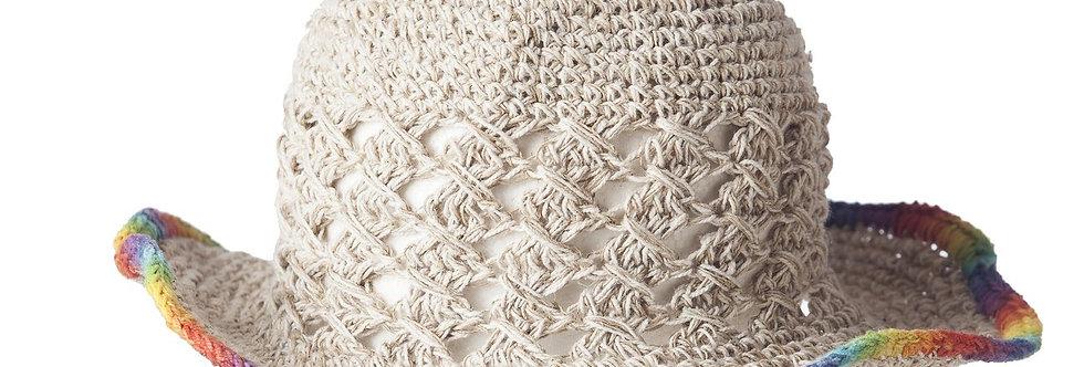 Wire rim natural color crocheted hemp sun hat rainbow trim