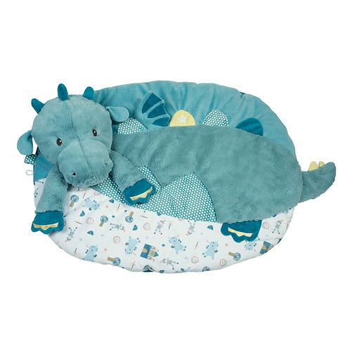 Blue & white dragon shaped plush toy with blanket attached to make a mat for baby