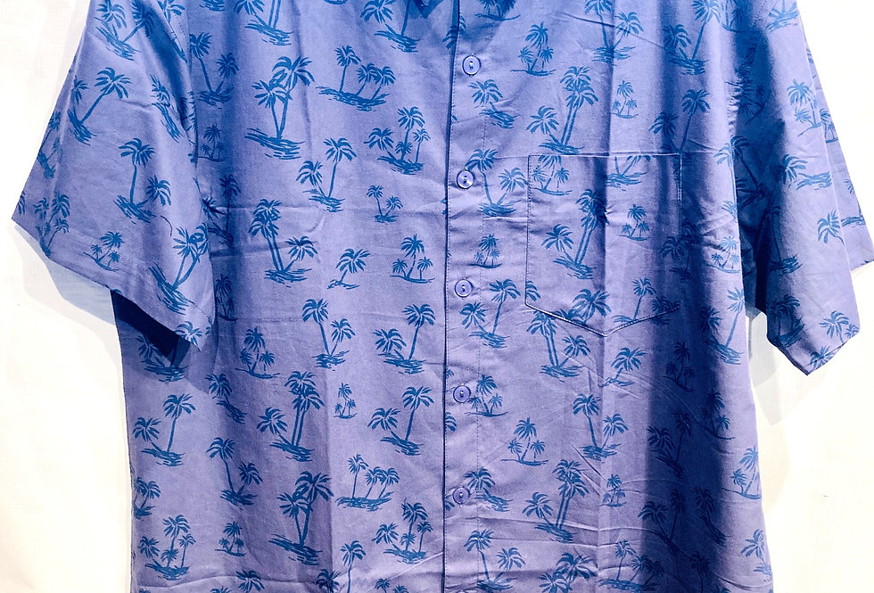 2 tone blue palm tree print short sleeved traditional collar shirt with front buttons