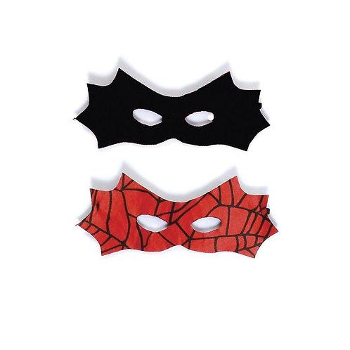 2 cloth eye masks in bat shape, 1 black, 1 red with black spider web print