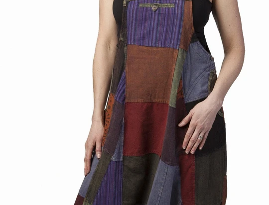 Ark Fair Trade Eclipse Patch Overalls multicoloured purple, gold, brown, maroon baggy aladdin style overalls with