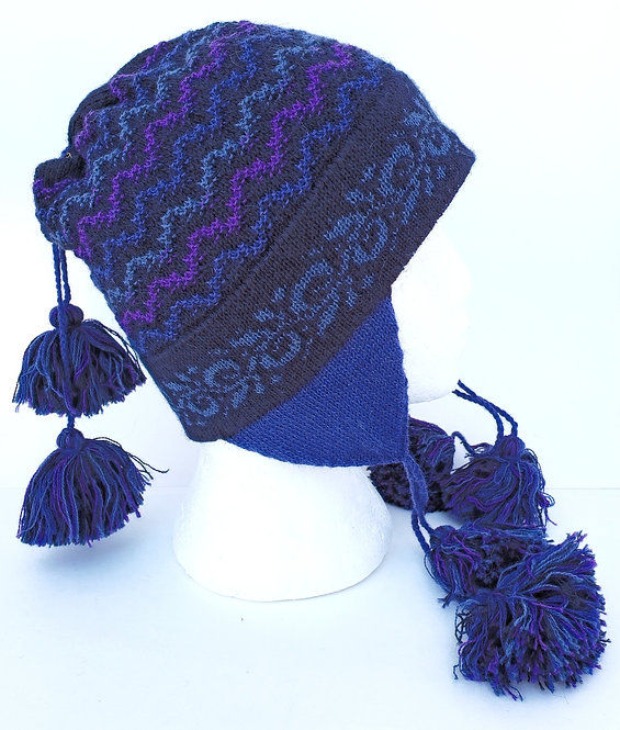 Peruvian Link Alpaca Hat, Ocean Wave Chullo