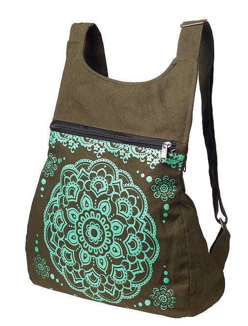 Ark Fair Trade Octa Knapsack-small purse-like backpack with adjustable straps-khaki-shiny mint lotus mandala print on front