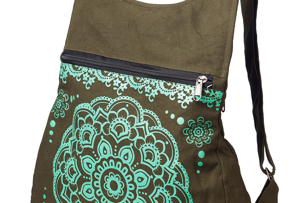 Ark Fair Trade Octa Knapsack-small purse-like backpack with adjustable straps-khaki-shiny mint lotus mandala print on front