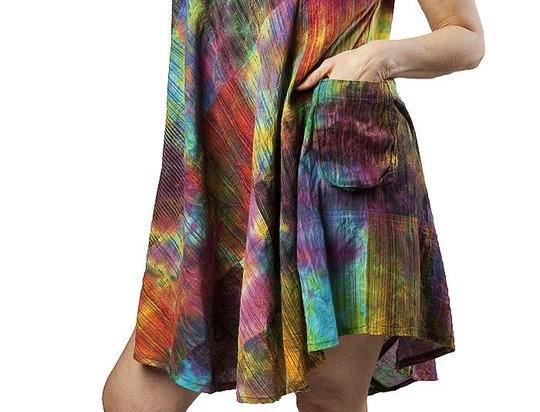 Full skirt A-line mini dress sleeveless round neck visible pocket on side  tie-dyed bright colors red pink purple blue green