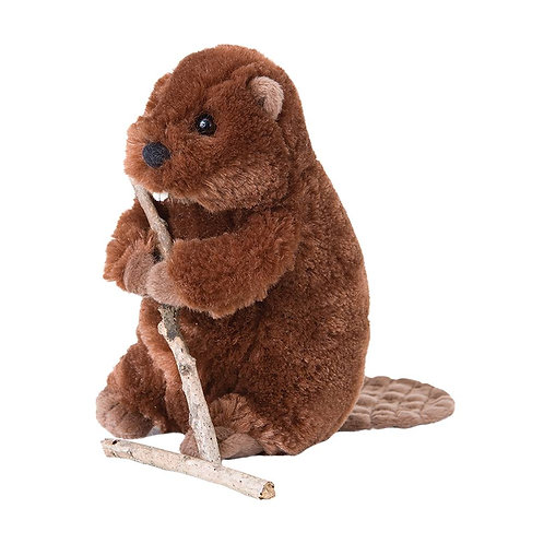 brown beaver plush toy holding a wood stick