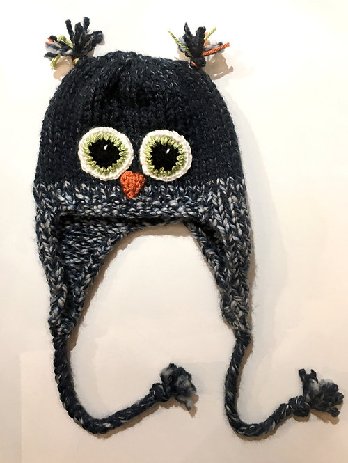 Navy & navy-white-mix knit childs hat with earflaps & chin ties-owl eyes & beak stitched on-ear tassels at top of crown