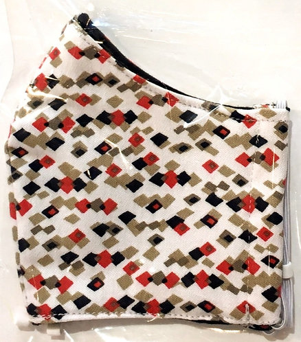 close up of kids cotton protective mask-white with little black, tan & red squares
