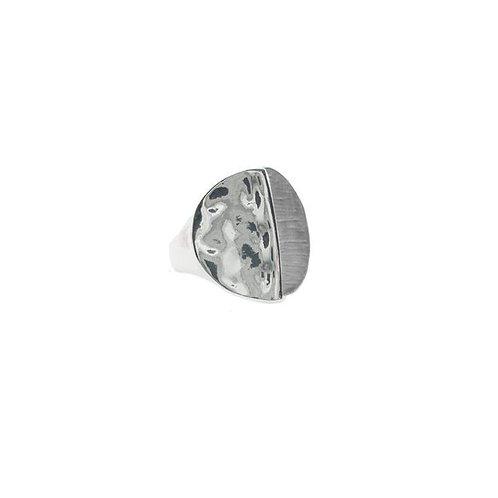 Round hammered disc ring - half silver half gray