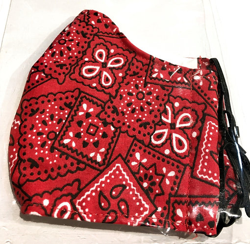 Close up of Red bandana print cotton safety mask