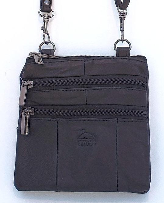 Black Leather Shoulder Strap Mini Purse, front view
