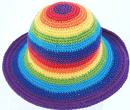 Rainbow Stripe Crocheted Cotton Sun Hat top view