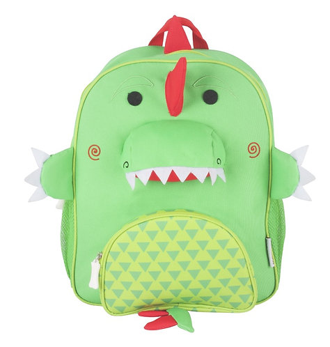 front view of green kids' backpack with red dinosaur spines and face