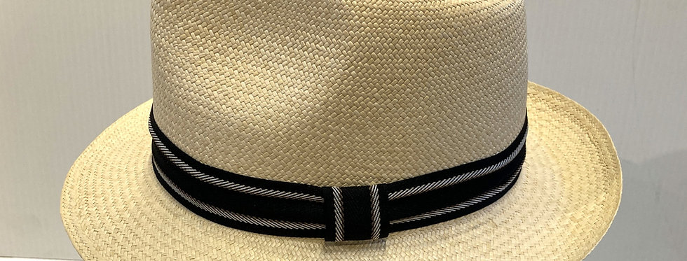 Left side view of natural-color Panama hat with black band with 2 white stripes