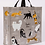 Large rectangular shopping bag with 2 handles-Gray with images of various kings of cats