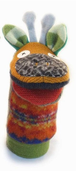Wool hand puppet with head & antlers of giraffe