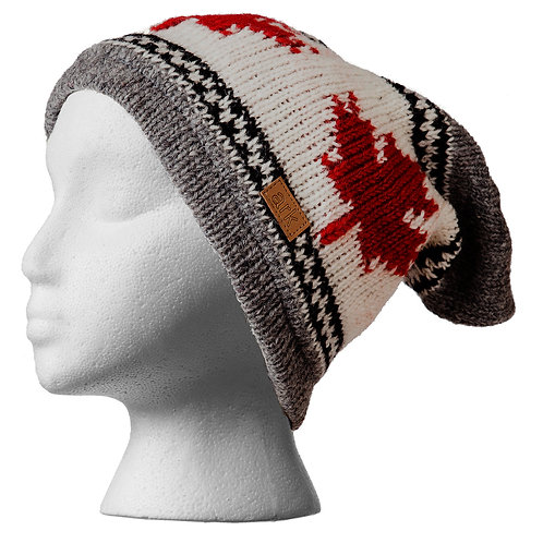 Gray, red & white wool knit slouch hat with 3 maple leaves
