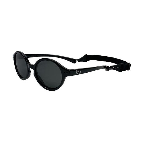 Side view of  round sunglasses for babies with head strap