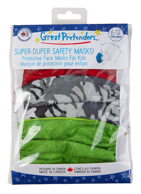 Set of 3 Protective Masks for Kids in plastic package including moose print, green & ruby