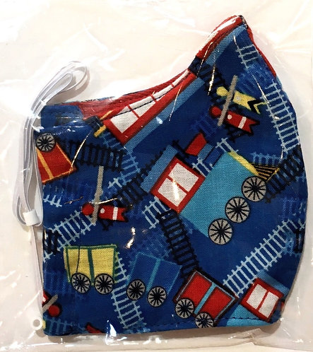 close up of kids cotton protective mask-navy with colorful trains print