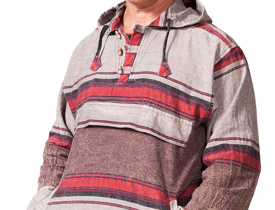 Model wearing pullover cotton shirt with long sleeves and hood in wide brown and beige horizontal stripes