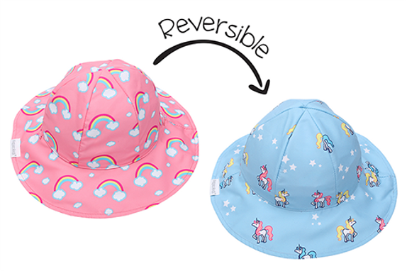 2 in 1 Reversible Patterned Sun Hat - Rainbow / Unicorn