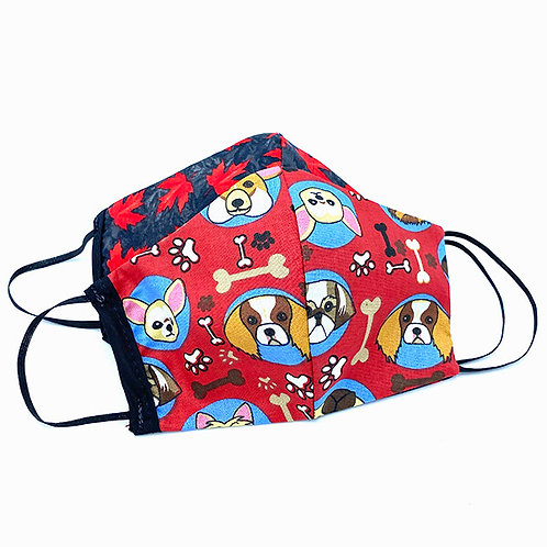 Both sides of Reversible & Reusable Protective Mask - dog print on red one side-red maple leaves on blue the other
