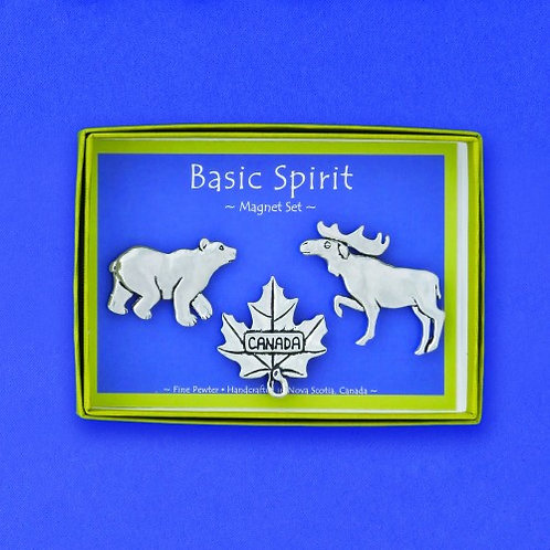 Open blue & green box holding set of 3 pewter magnets in the shape of bear, maple leaf & moose